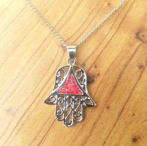 Silver red opal Hamsa hand pendant necklace yoga